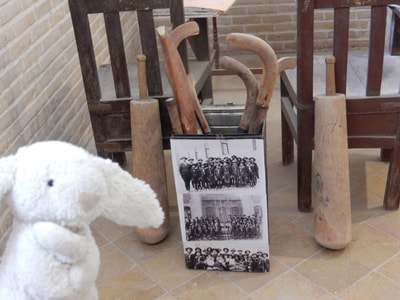 Old gym equipment on display at Markar Museum in Yazd
