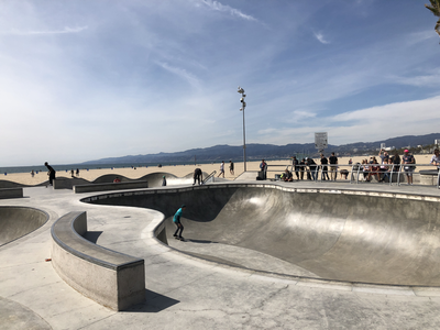 Skateboarding at Venice Beach.